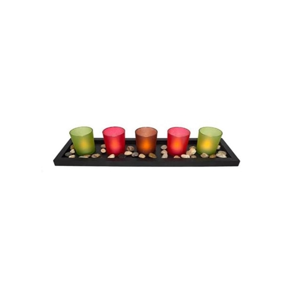 Picture of Set of 5 Luminara Battery operated Tea Light Flameless Candles: 5 White, Unscented Flameless Votive Candles with Decorative Black Tray Shape Base. 44*13*7.5 cm