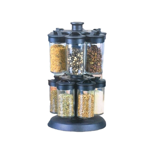 Picture of Glass and Plastic 12 Jar Spice Rack - 16 x 27 Cm // Jar: 4.5 x 10 Cm