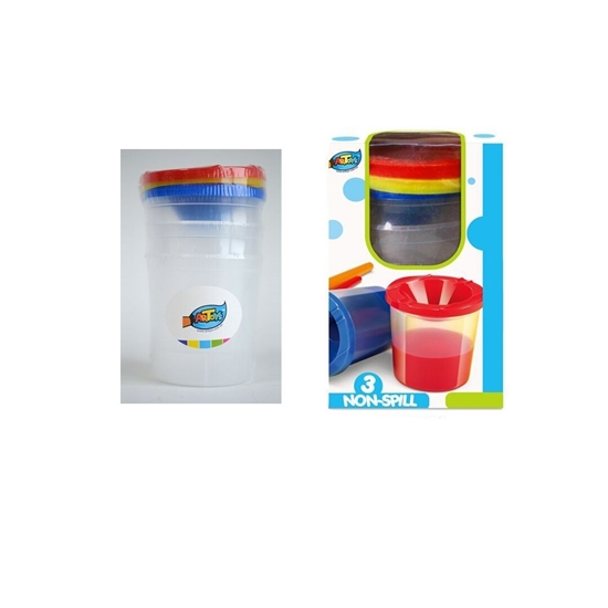 صورة Children Paint Cups with Lids 3Pcs