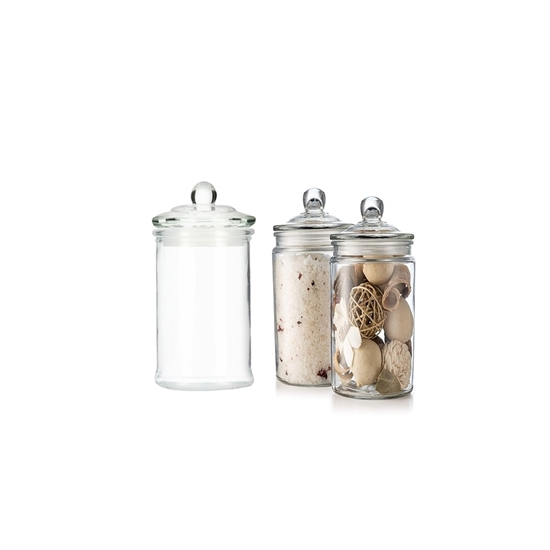صورة Glass Storage Canister, Clear Jar, With Clear Glass Lid - 11 x 6 Cm