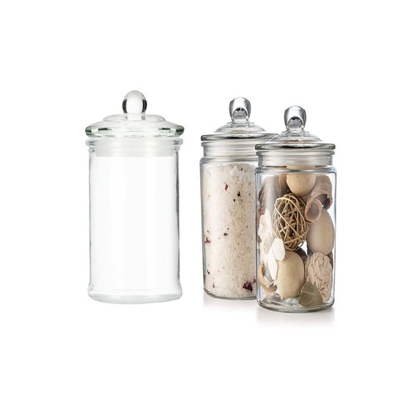Picture of Glass Storage Canister, Clear Jar, With Clear Glass Lid - 15 x 8 Cm