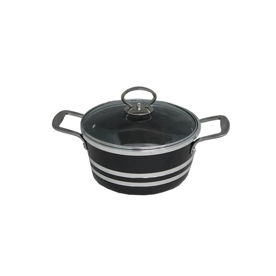 Picture of Black - Aluminium Cooking Pot with Glass Lid - 24 Cm