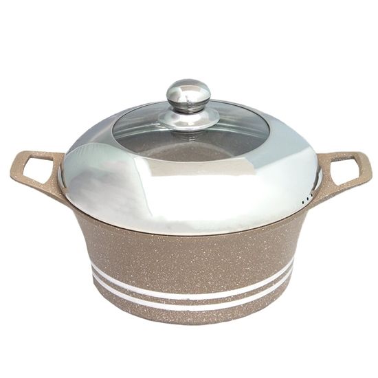 Picture of Beige - Aluminum Cooking Pot with Glass Lid - 28 Cm