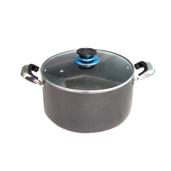 Picture of Grey - Aluminum Cooking Pot with Glass Lid - 28 Cm