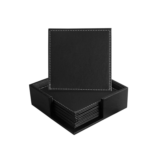 Picture of Set of 6 Leather Coasters, Protect Furniture from Water Marks Scratch and Damage, SanPlus Simple and Classy Coasters for Drinks (black)