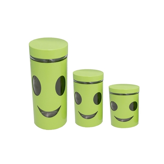Picture of 3-Piece Cylinder Glass Canister - 20 x 8 Cm