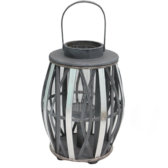 Picture of Black - Wooden & Glass Lantern - 40 x 24 Cm