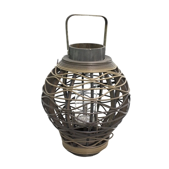 Picture of Black - Wooden & Glass Lantern - 40 x 28 Cm
