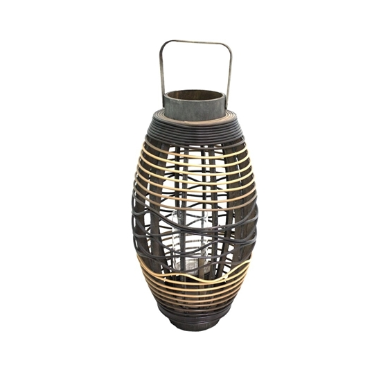 Picture of Black - Wooden & Glass Lantern - 50 x 20 Cm