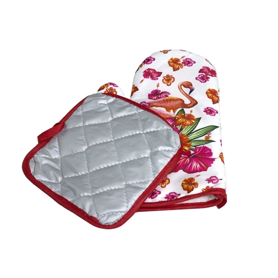 صورة Oven Mitts and Pot Holders Set with Polyester Non-Slip Grip, Heat Resistant, Oven Gloves for BBQ Cooking Baking, Grilling