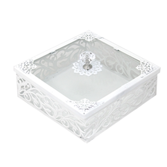 صورة White & Glass Square Dessert Box with Lid - 25 x 6 Cm