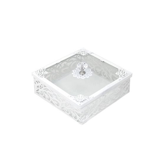 صورة White & Glass Square Dessert Box with Lid - 20 x 6 Cm