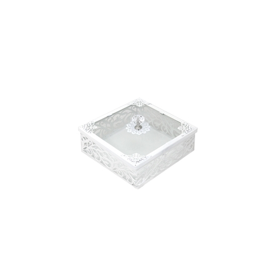 صورة White & Glass Square Dessert Box with Lid - 15 x 6 Cm