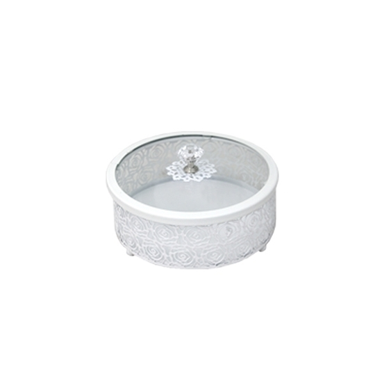 صورة White & Glass Circle Dessert Box with Lid - 20 x 6 Cm