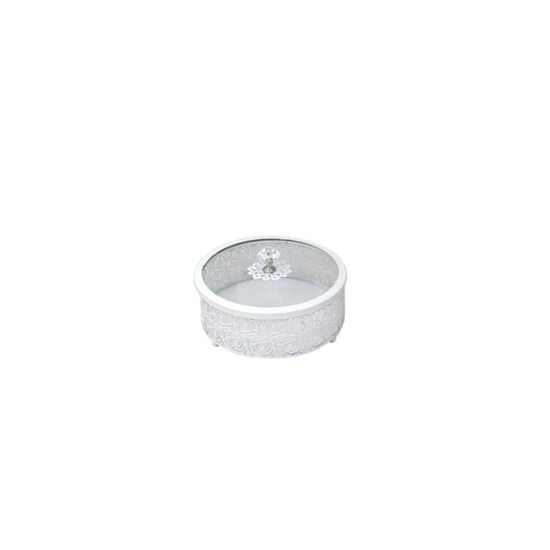 Picture of White & Glass Circle Dessert Box with Lid - 15 x 6 Cm