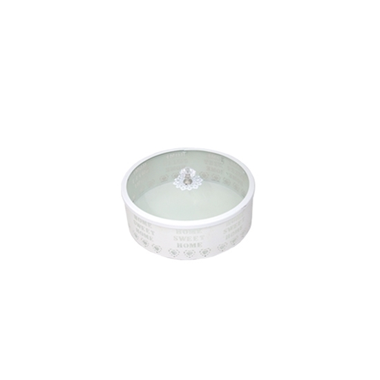 صورة White & Glass Circle Dessert Box with Lid - 15 x 6 Cm