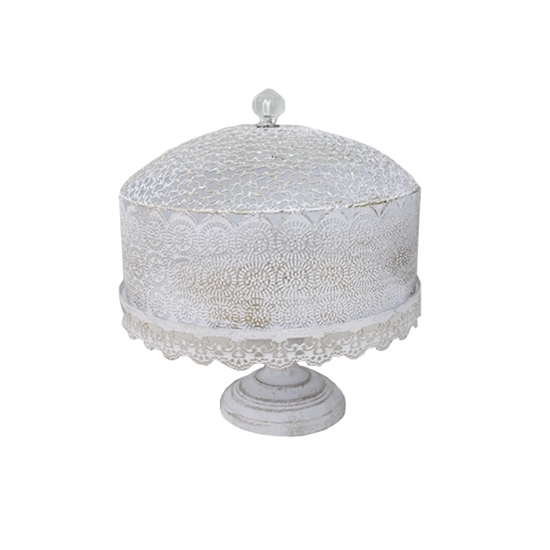 صورة White Metal Cake Stand with Lid  - 30 x 30 Cm