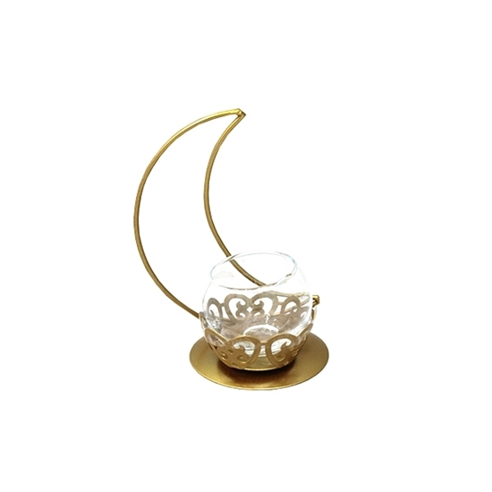 Picture of Gold Moon Candle Holder - 16 x 12 Cm