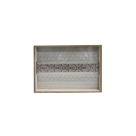 Picture of Wooden Serving Tray with Glass Insert - 35 x 25 x 4.5 Cm