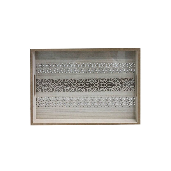 Picture of Wooden Serving Tray with Glass Insert - 30 x 40 x 5 Cm