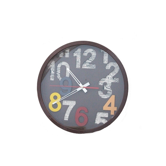 Picture of Brown Circle Wall Clock - 30 Cm