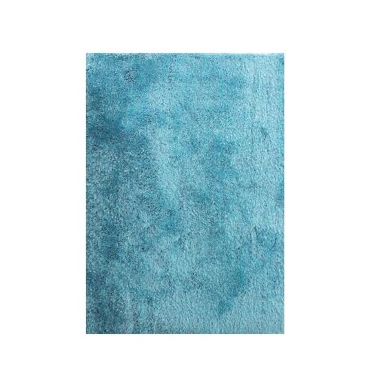 صورة سجّادة وبر طويل باللون الأزرق التركوازي قياس 140 × 200 سم