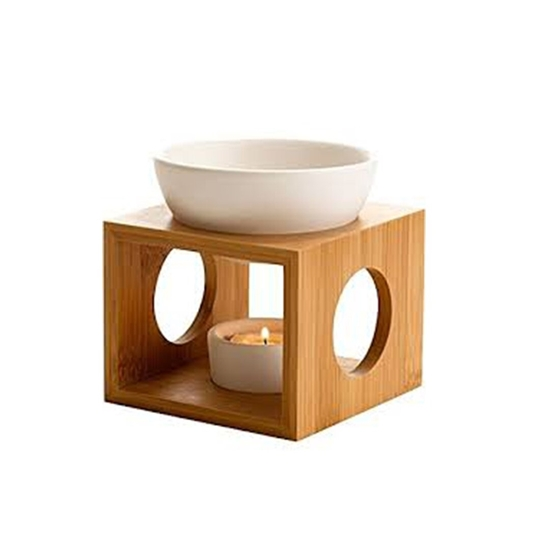 صورة Ceramic Tea Light Holder,Essential Oil Burner Candle Diffuser For Spa Yoga Meditation (wood)