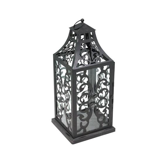 Picture of Black - Metal & Glass Lantern - 42 x 18 Cm