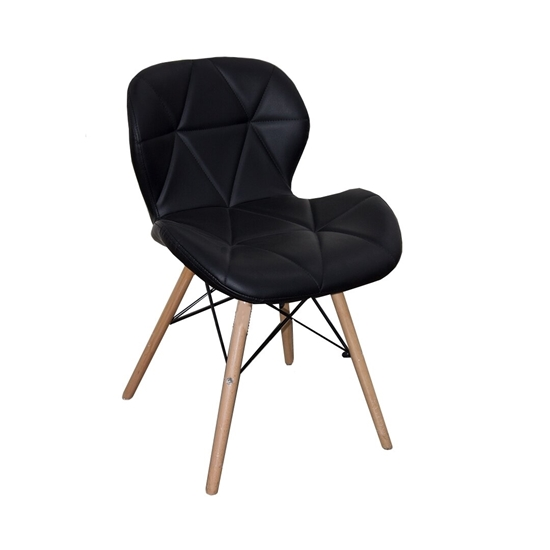 Picture of Black Leather & Wooden Legs Chair - 46 x 36 x 69 Cm