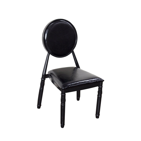 Picture of Black Leather & Iron Legs Chair - 45 x 44 x 93 Cm