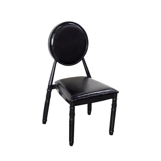 صورة كرسي مائدة  باللون الأسود من الجلد مع أقدام خشبية قياس 93 × 44 × 45 سم