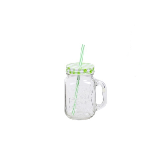 صورة GLASS JUICE JAR WITH STRAW - 8 x 5 Cm