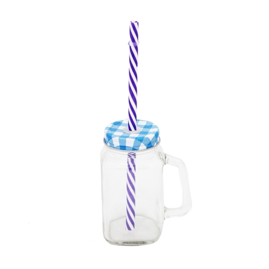 صورة GLASS JAR WITH HANDLE METAL LID & TWISTED STRAW
