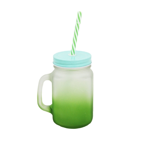 صورة FROSTED GLASS CUP WITH STRAW