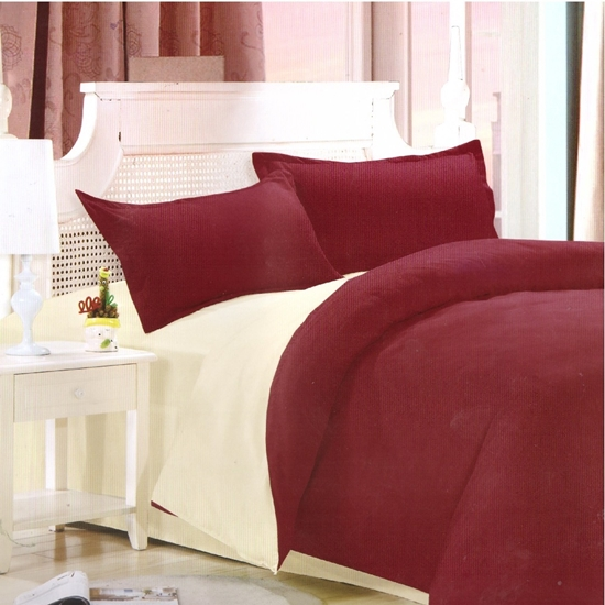 Picture of King - Cotton & Polyester Double Face - Red & Beige - Fitted Sheet, Duvet, Pillowcases