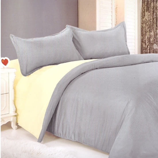 Picture of King - Cotton & Polyester Double Face - Beige & Grey - Fitted Sheet, Duvet, Pillowcases