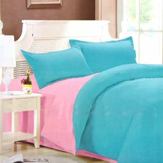 Picture of King - Cotton & Polyester Double Face - Turquoise & Pink- Fitted Sheet, Duvet, Pillowcases