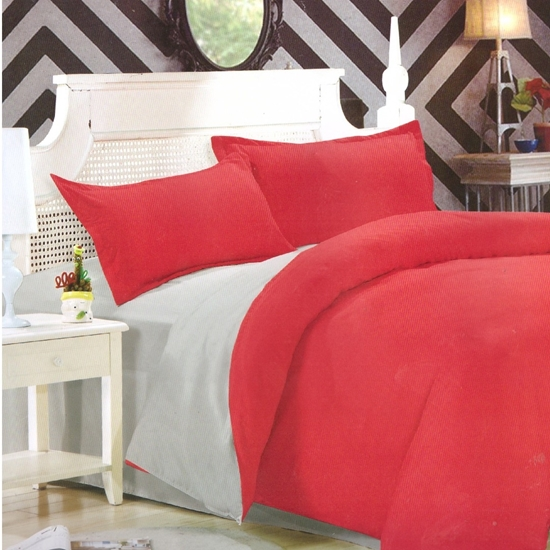 Picture of Queen - Cotton & Polyester Double Face - Red & Grey - Fitted Sheet, Duvet, Pillowcases