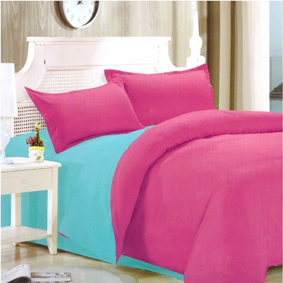 Picture of Queen - Cotton & Polyester Double Face - Blue & Fuchsia - Fitted Sheet, Duvet, Pillowcases