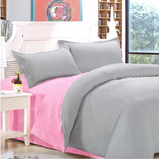 Picture of Queen - Cotton & Polyester Double Face - Pink & Grey - Fitted Sheet, Duvet, Pillowcases