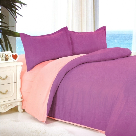 Picture of Queen - Cotton & Polyester Double Face - Pink & Purple - Fitted Sheet, Duvet, Pillowcases