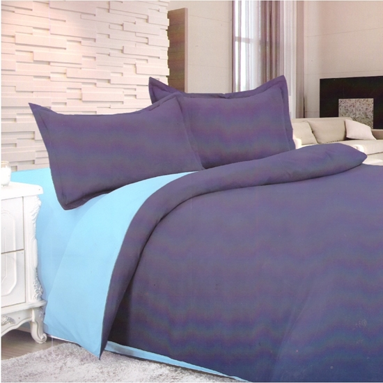 Picture of King - Cotton & Polyester Double Face - Blue & Purple - Fitted Sheet, Duvet, Pillowcases