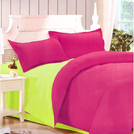 Picture of King - Cotton & Polyester Double Face - Red Rose & Green - Fitted Sheet, Duvet, Pillowcases