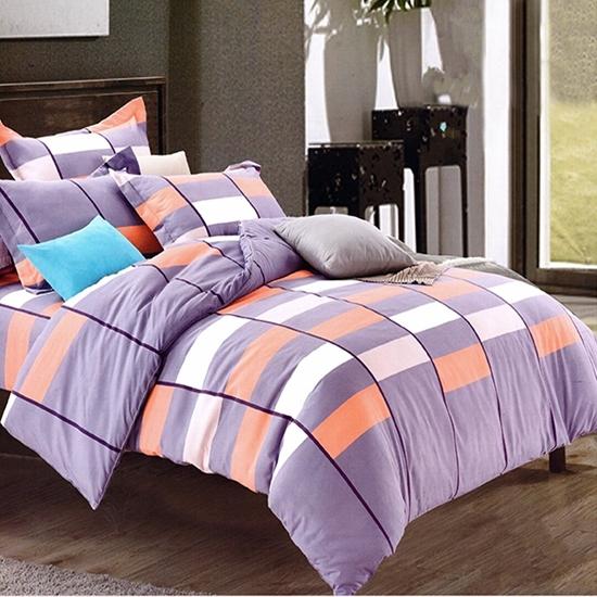 صورة Queen, 4 Piece Sheet Set - Hotel Luxury Double Brushed Cotton & Polyester Sheets - Fitted Sheet, Duvet, Pillow Cases, Queen - Colored