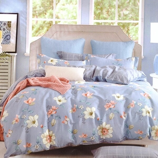 Picture of Queen - 4 Pieces Sheet Set - Cotton & Polyester Sheets - Fitted Sheet, Duvet, Pillowcases