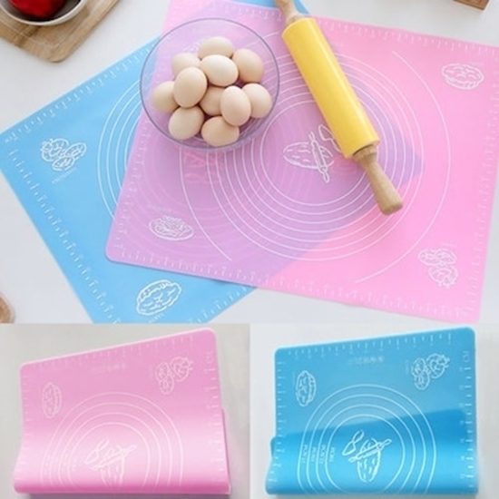 Picture of Silicone Baking Mat for Pastry Rolling with Measurements, Liner Heat Resistance Table Placemat Pad Pastry Board, Reusable Non-Stick Silicone Baking Mat for Housewife, Cooking Enthusiasts 64 x 44 CM