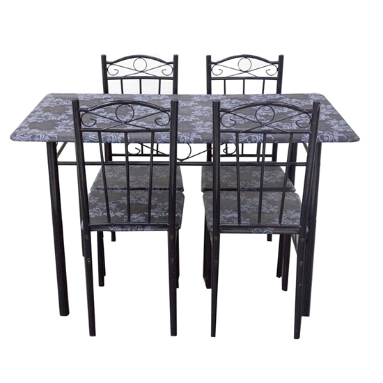 صورة Dining Set Metal Table and 4 Chairs - Table: 70W x 120L x 76H Cm // Chair: 37W x 38D x 90H Cm