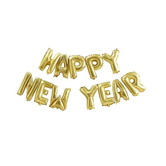 """صورة Gold """"HAPPY NEW YEAR"""" Foil Balloons 16 Inch"""