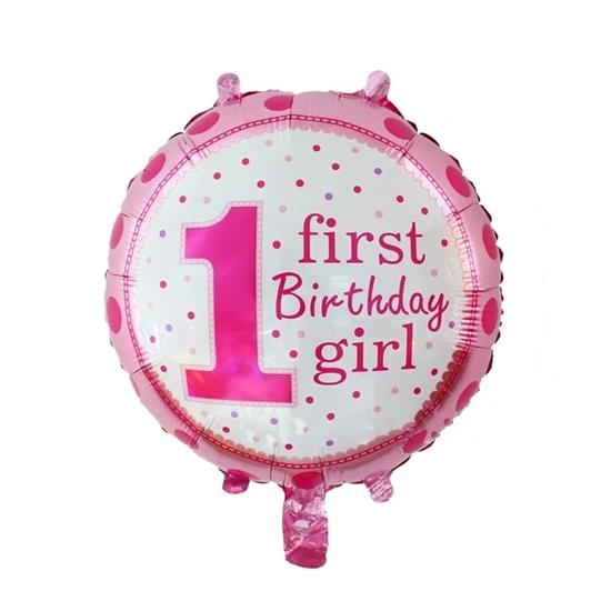 صورة First Birthday Girl Polka Foil Balloon / Birthday Party / Baby Shower Decoration - 18 inch Pink