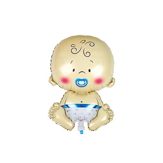 صورة Cute Baby Shape Inflatable Balloon Aluminum Foil Balloons Baby Shower Birthday Party Decoration (Boy) 64 x 58 cm